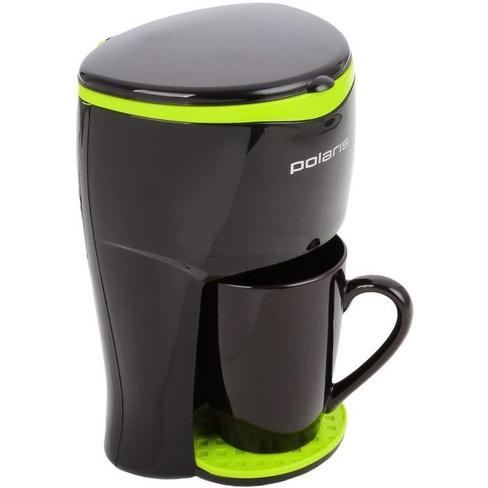 Кофеварка POLARIS PCM 0109 черный/салатный, 350Вт одна чашка